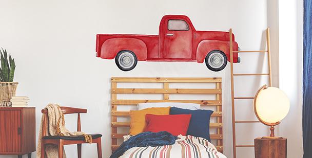 Väggdekor röd bil till sovrummet