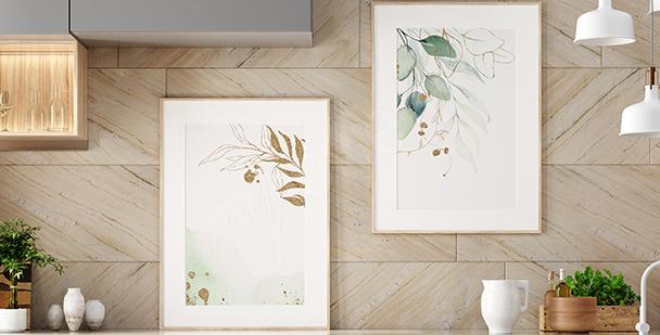 Växtlig affisch med akvarell