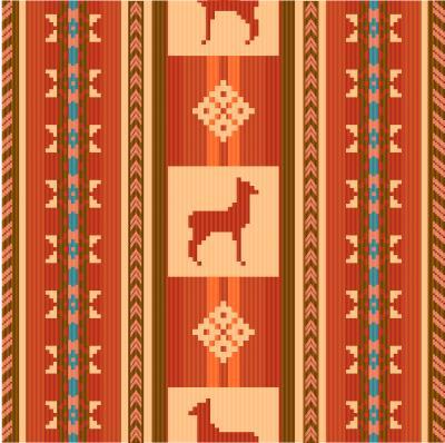 Fototapet Ornamental etnisk tygmönster med lamas